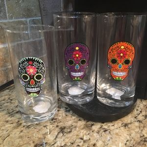 3 New Skull Tall Beverage Glasses